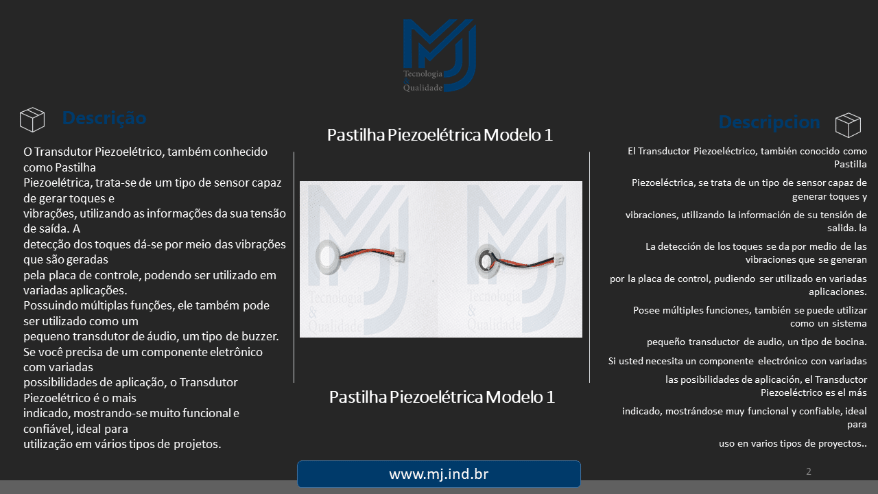 Pastilha Piezoelétrica Modelo 1