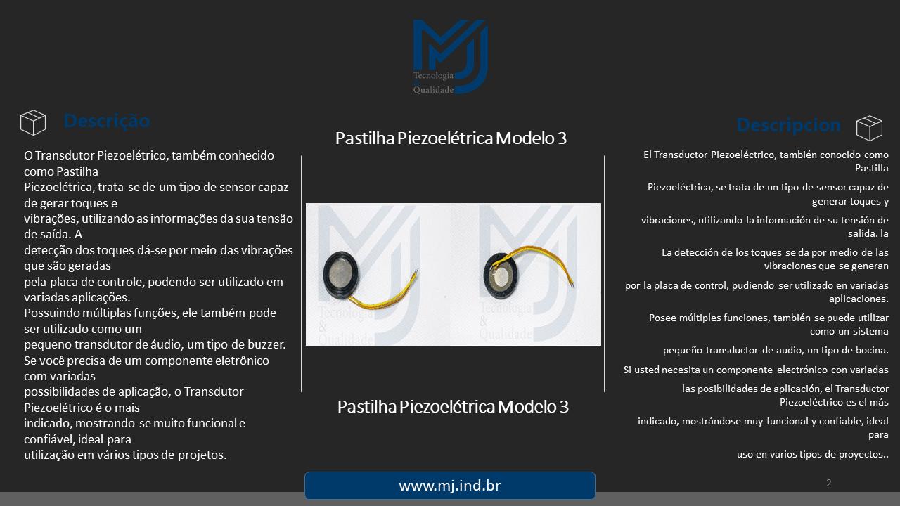 Pastilha Piezoelétrica Modelo 3