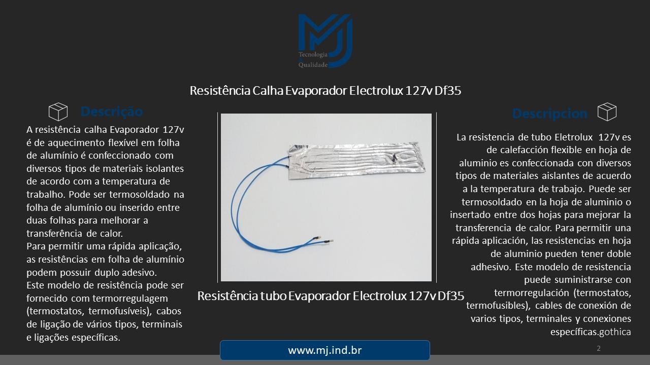 Resistência Calha Evaporador Eletrolux 127v Df35