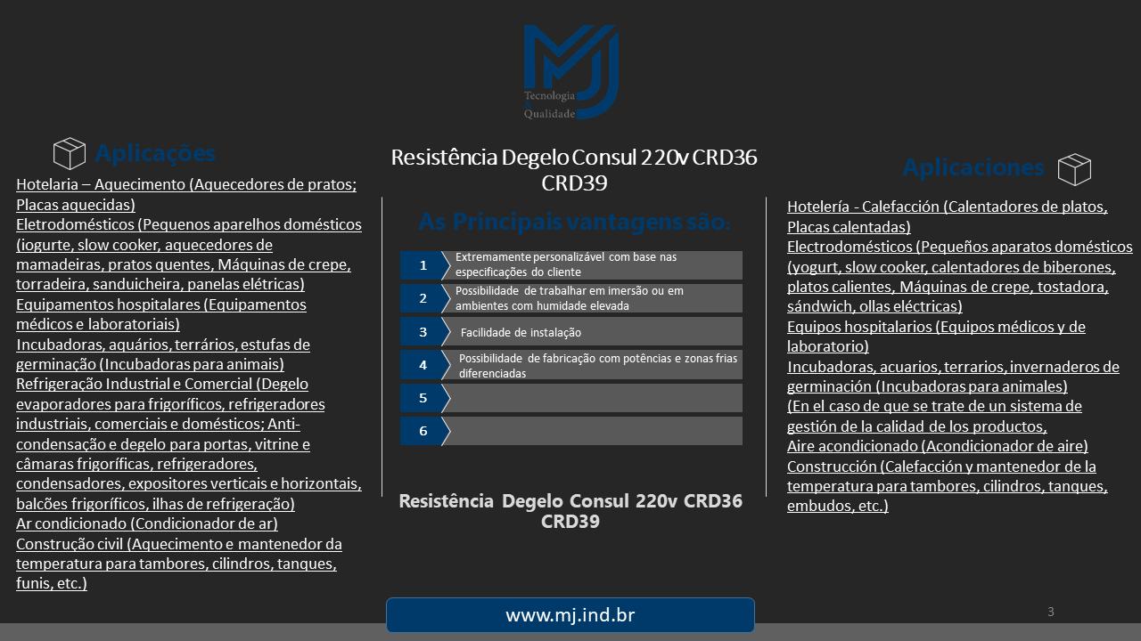 Resistência Degelo Consul 220v CRD36 CRD39