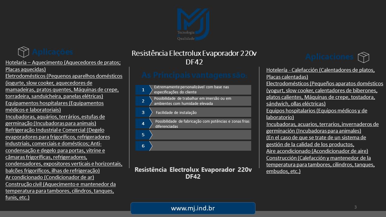 Resistência Electrolux Evaporador 220v DF42